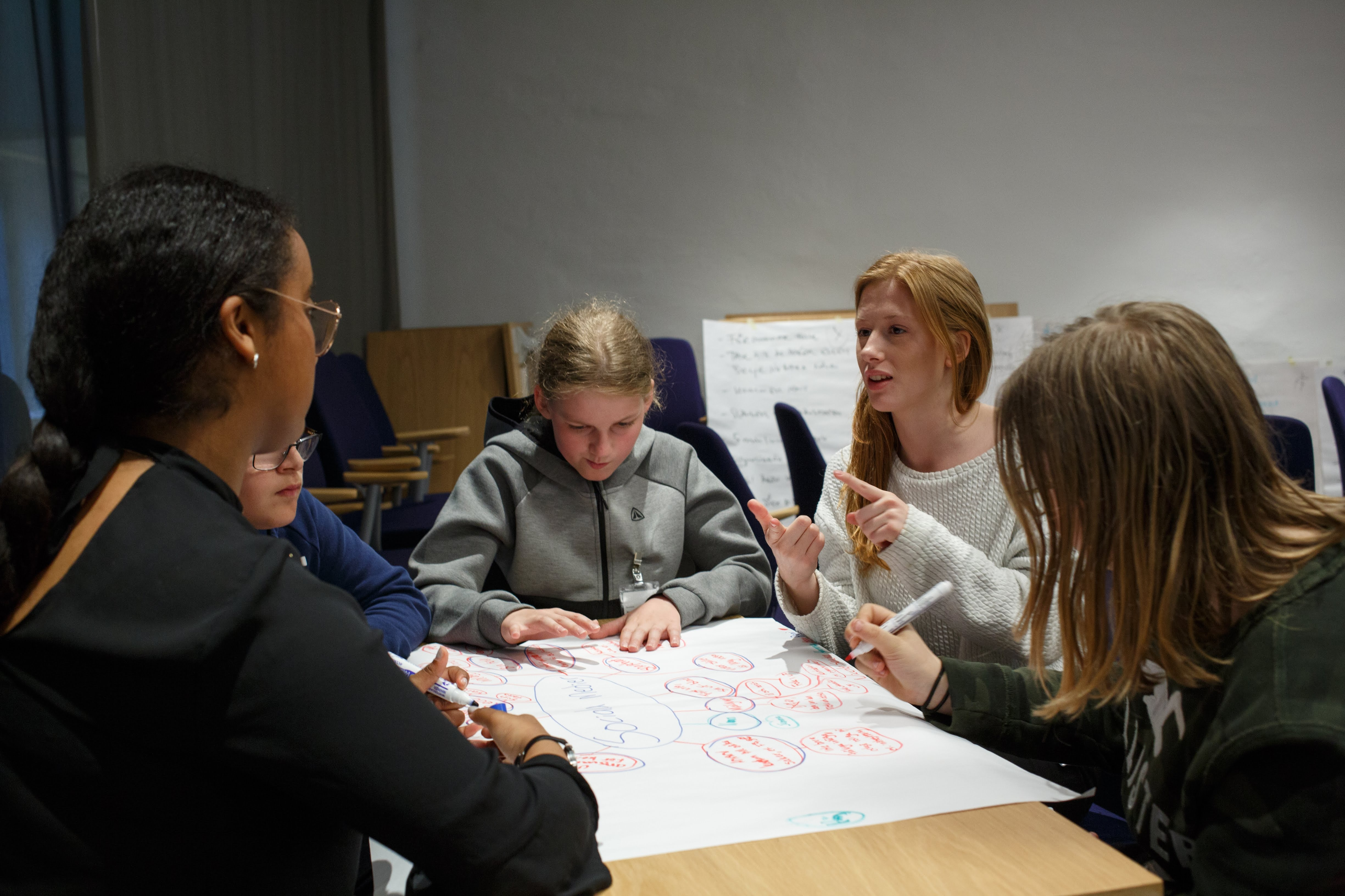 School students discussing mobility projects