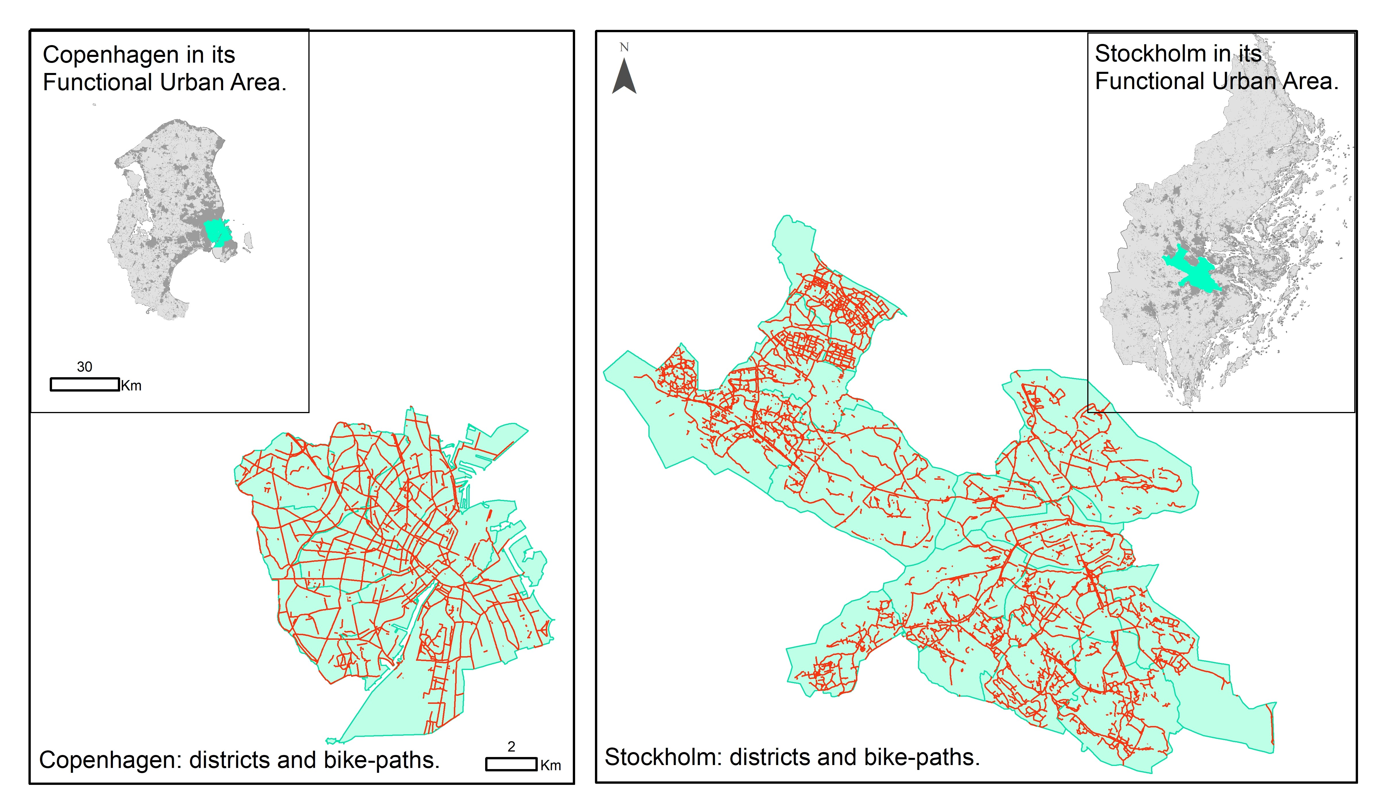 Copenhagen, Stockholm and their cycling infrastructures (based on Open Street Map data).