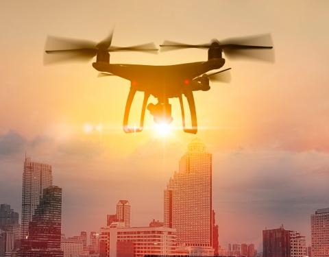 Drone in urban area