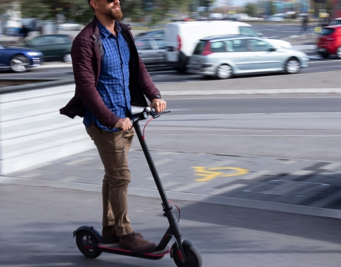 Electric scooter on urban road