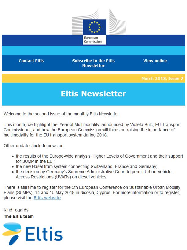 Eltis newsletter - March 2018