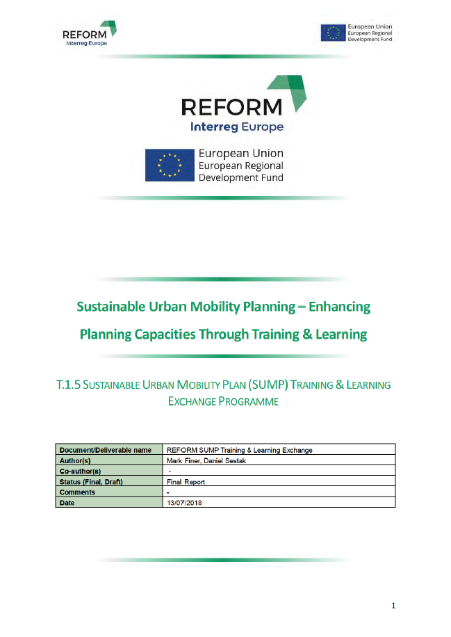 REFORM - Sustainable Urban Mobility Planning - Enhancing Planning Capacities Through Training & Learning