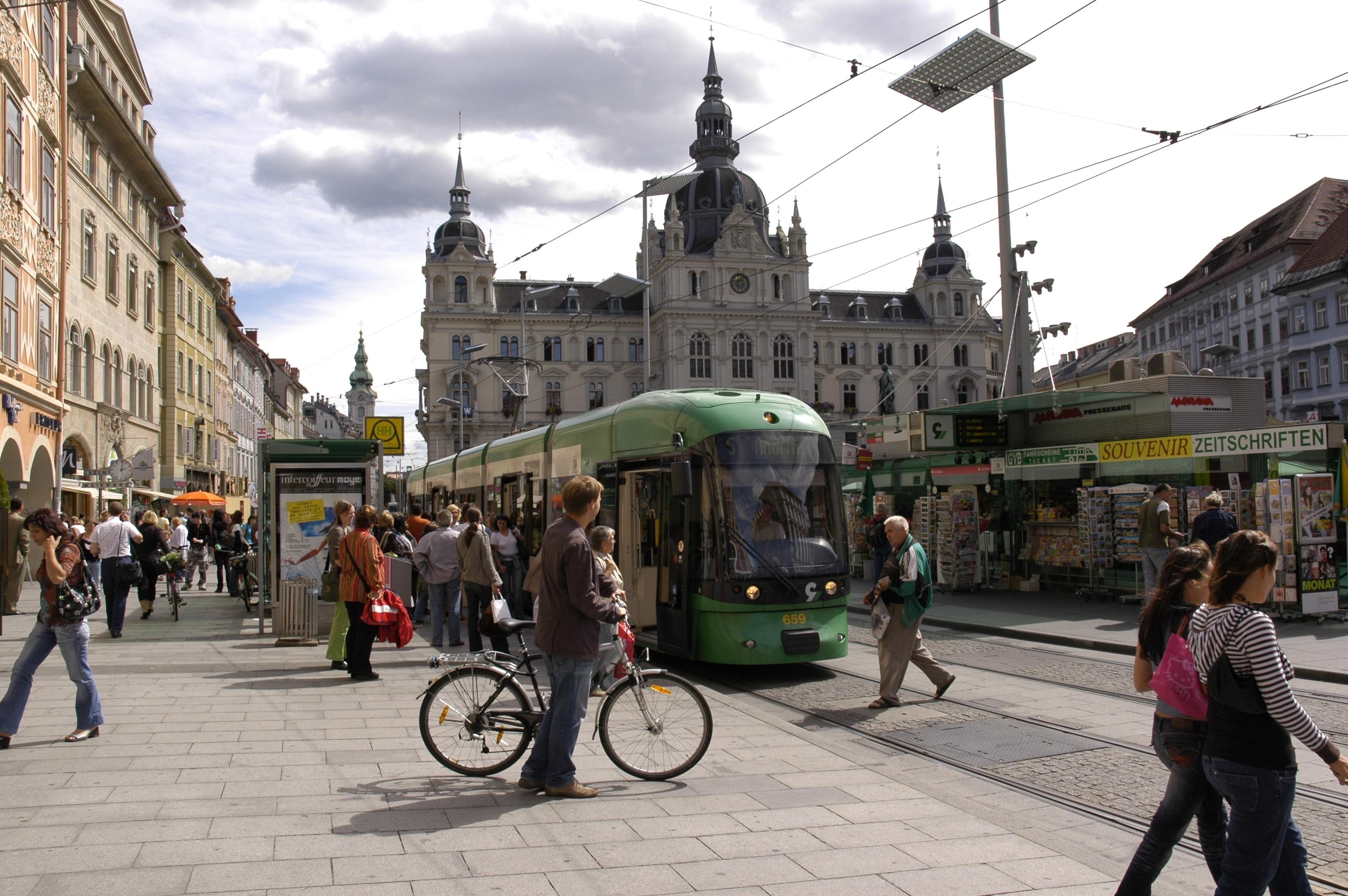 Public transport stop at Graz Main Square