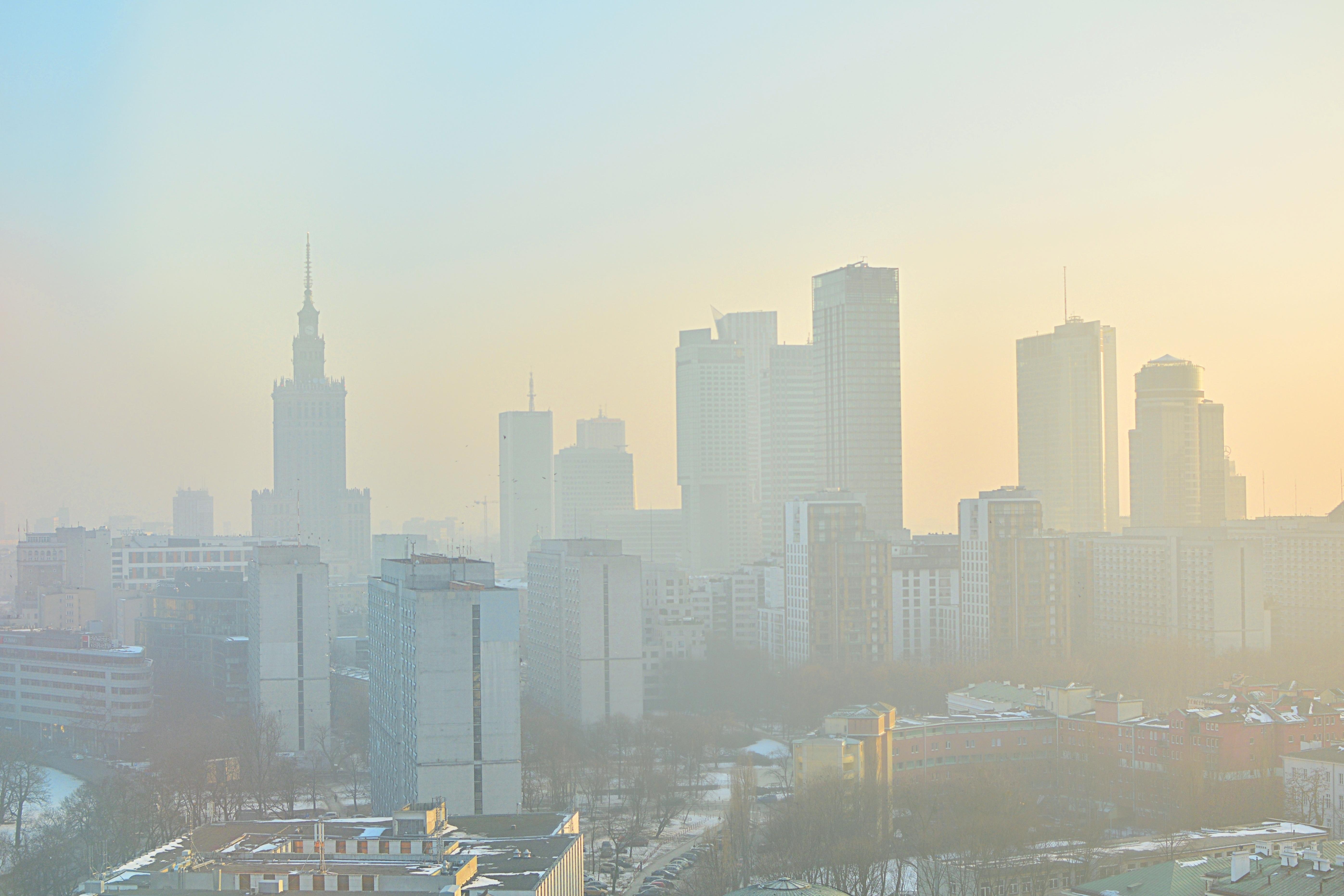 Smog over Warsaw skyline