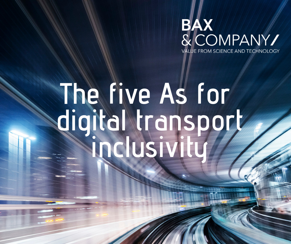 There are 5 main inclusivity requirements to be fulfilled by transport systems. Bax & Company have created a matrix summarising, for each requirement, how introducing digital technologies to the transport sector can provide more inclusive services for vulnerable users.