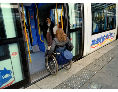 Wheelchair entering public transport