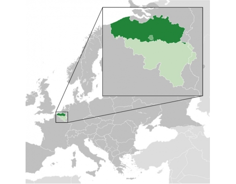 Map highlighting the location of Flanders in Europe