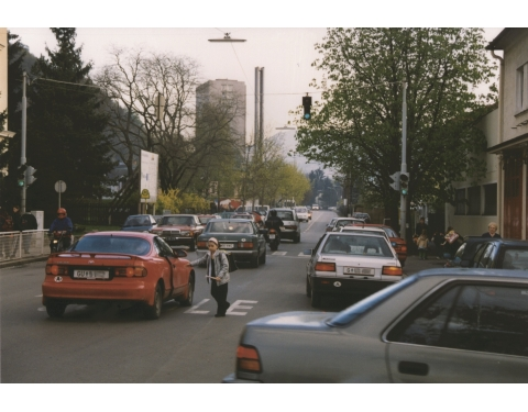 View of a conventional street at school start