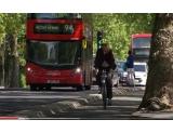 Cyclist on bike lane, UK