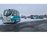 Electric autonomous bus in snowy weather conditions